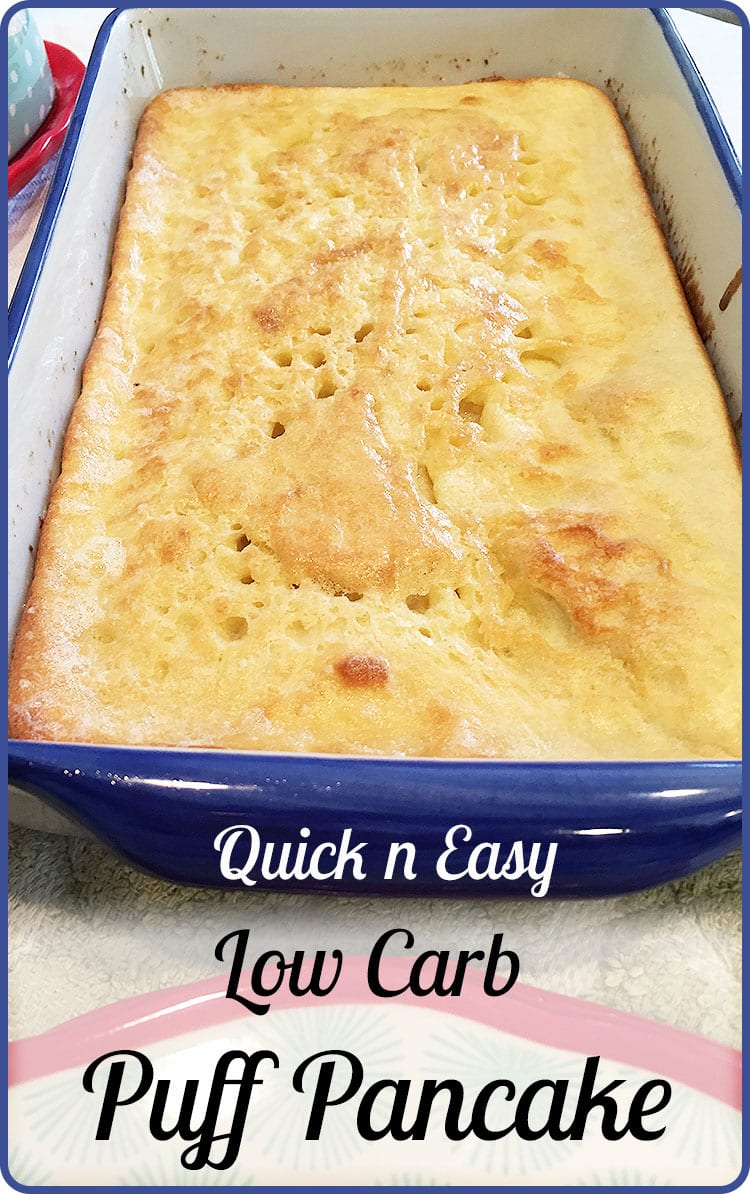 So easy! No flipping this Low Carb Puff Pancake. Buttery and delicious at just under 3 carbs a pancake.