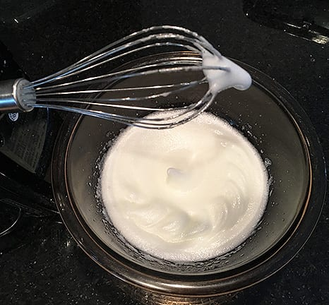 whipping the egg whites helps to get air into the batter for the low carb sandwich bread.