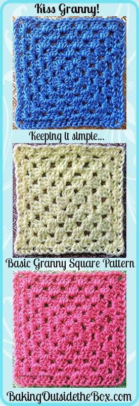 Basic Granny Square Pattern ~ Kiss Granny ~ Baking Outside the Box