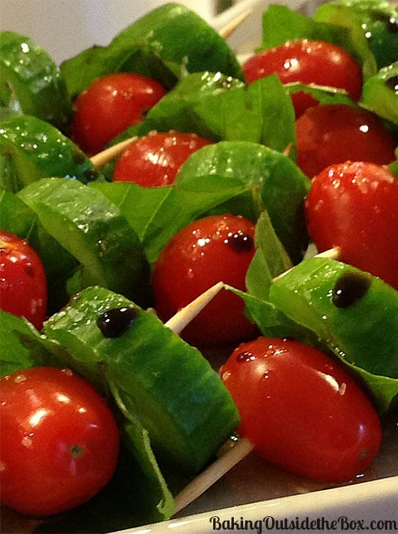 grape tomatoes, cucumber, basil dressed and on picks. One of two easy and stylish appetizers