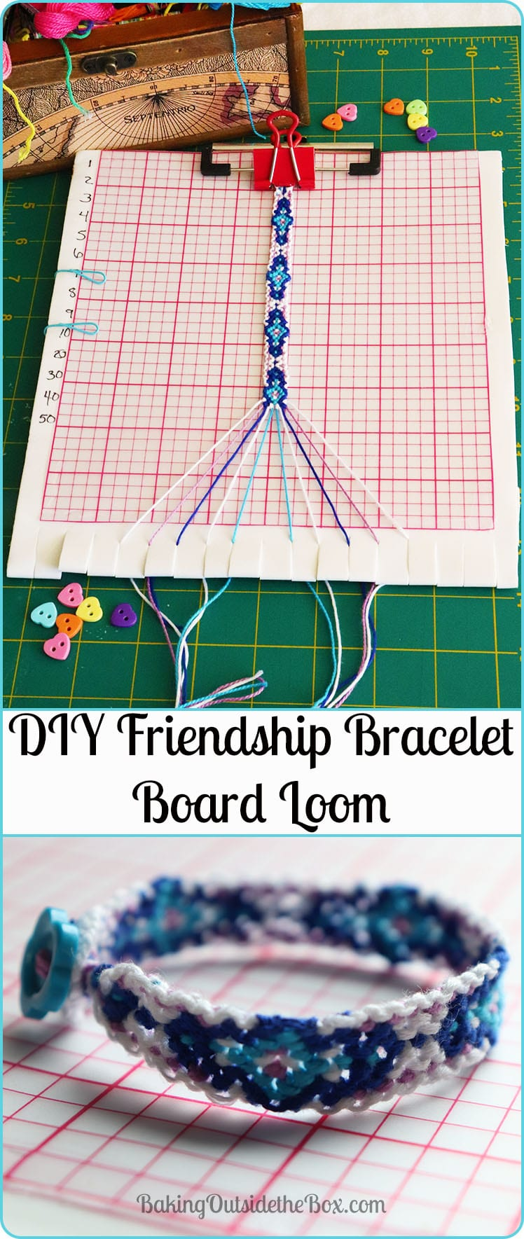 This loom for friendship bracelets is gentle on thread strands and helps you keep trqack of the pattern. Get the easy to make DIY for the Friendship Bracelet Loom instructions.