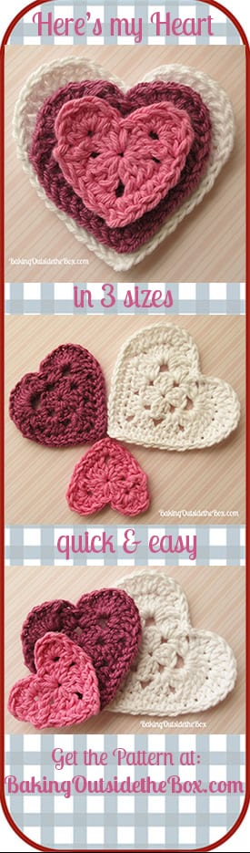 Grab your free copy of the 'Here's My Heart' crochet pattern. #bakingoutsidethebox #crochethearts #crochet #valentine