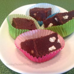 Here is a simple recipe for low carb fudge. It has a crazy secret ingredient that makes it come out perfectly. It has less than 1 net carb per piece.