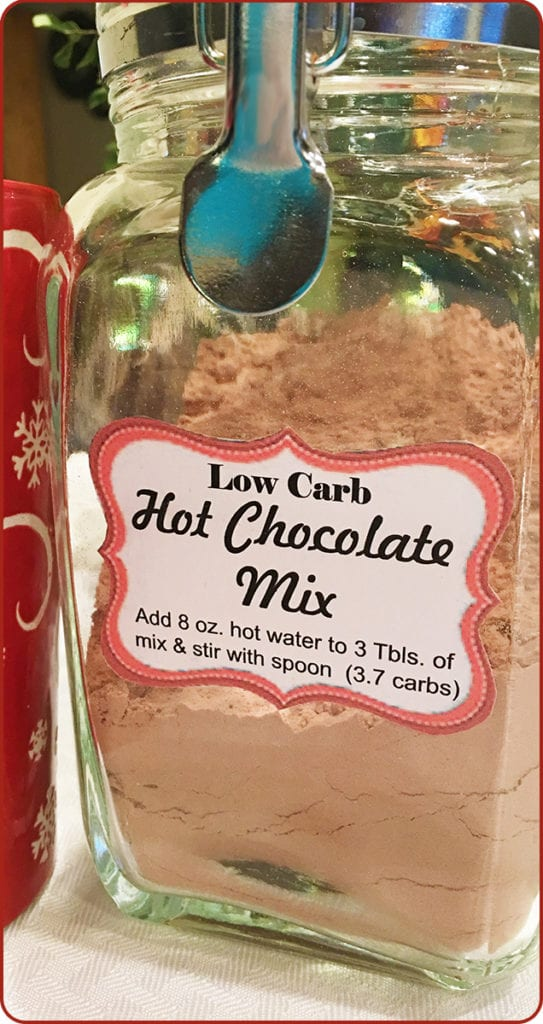 This Low Carb Hot Chocolate Mix is just 3.7 total carbs per serving. Super easy to make with just 3 ingredients. Absolutely delicious and great for Bulletproof hot chocolate. #bakingoutsidethebox #lowcarbhotchocolatemix #lowcarbrecipes