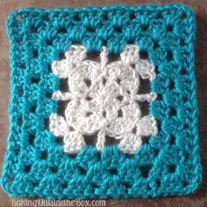 Magic Casement Turquoise granny square