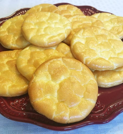These light and fluffy Oopsie Rolls or Cloud Bread are only 3 ingredients and a great sandwich bread replacement. Ultra low carb at just .5 carbs per roll. (That's right. Just one half of a gram of carbohydrate!) They can be frozen for later use in a tightly covered container.