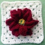 #bakingoutsidethebox | This crocheted Poinsettia Granny Square and Ornament pattern will make Christmas warm and bright. Download the pattern now.