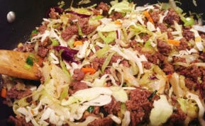 #bakingoutsidethebox | This Sriracha Slaw recipe is sometimes called 'Crack Slaw'. It's a delicious one-pan meal that is fast and satisfying for low carb lovers.