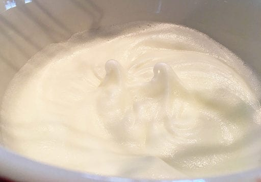 step 6: Beaten egg whites should be glossy and form soft peaks