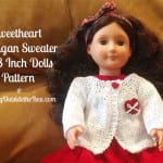 A quick and easy knitting pattern for a cardigan sweater for 18 inch dolls.