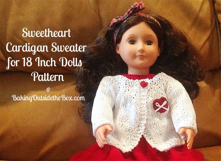 Sweetheart Cardigan Sweater For 18 Inch Dolls Pattern Baking
